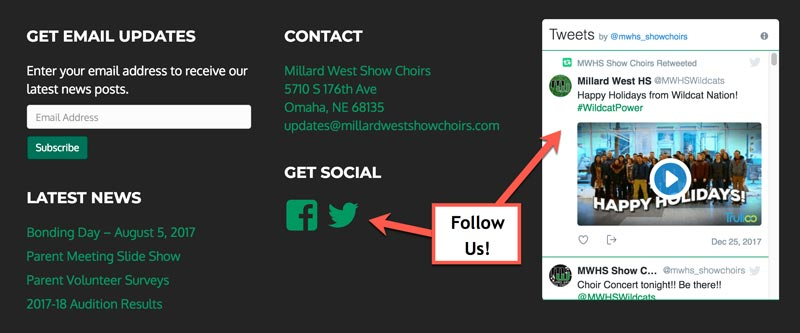 Millard West Show Choir Twitter